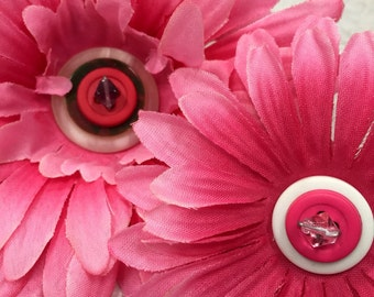 Two (2) pretty pink flower clips, hair accessories, cute hat decor, rockabilly and pin-up, costume & cosplay