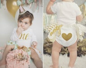 The Original Glitter First Birthday Heart-Bottom Outfit Cake Smash One Year Photo Prop Gold Onesie