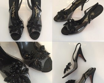 Vintage 50's Stanley Philipson Black Floral Beaded & Clear Insert Classic Slingback Pin Up Heels - Size 6 Narrow