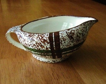 BLUE RIDGE GRAVY Boat Southern Potteries China Made in U.S.A. Pattern Rustic Plaid Green Brown Splatter
