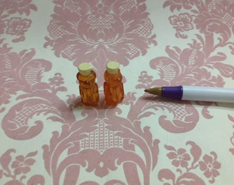 Dollhouse Miniature Food Plastic Honey Bear Bottle 2 pcs 1:12