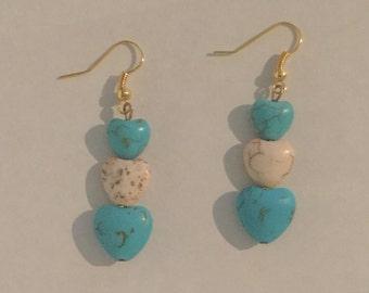 Puffed Heart Turquoise Earrings