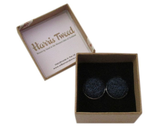 Harris Tweed French Navy Handmade Boxed Cufflinks