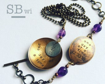 Sobriety necklace and bracelet set in bronze with amethyst detail