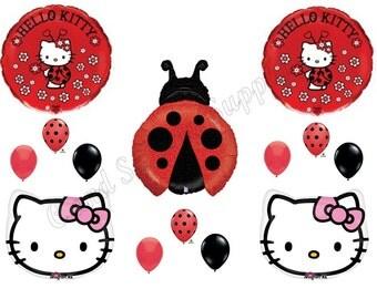 HELLO KITTY LADYBUG  Happy Birthday party balloons, decorations, supplies Girl