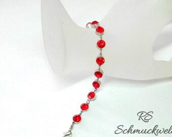 Crystal bracelet tennis elbow band Crystal Rivoli red glitter glitter brilliant Ruby Red rhinestone gift Christmas colors