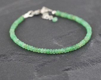 Delicate Chrysoprase Beaded Bracelet in Sterling Silver or Gold Filled. Dainty Green Gemstone Stacking Bracelet. Thin Slim Skinny Bracelet