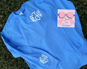 Monogram Long Sleeve Shirt. Glitter Monogrammed Shirt. Monogrammed Long Sleeve. Monogrammed Gifts. Women Monogram Shirt. Glitter.