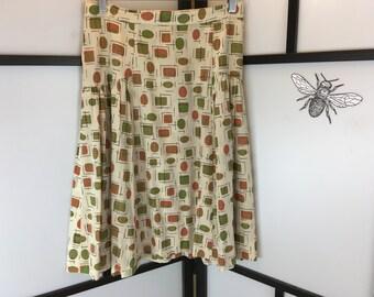 Tan and Green Print Skirt, Vintage Skirt, Retro Skirt, Women's Skirt, Size Small
