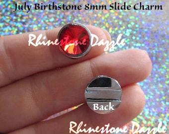 July Birthstone 8mm Slide Charm, Slider Charms, Ruby Birthstone