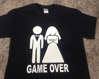 Wedding GAME OVER Shirt, Bride and Groom Tshirt, Funny Wedding Gift