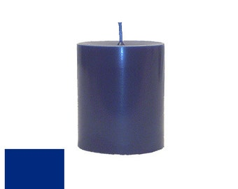3 x 3.5 Dark Blue Classic Hand-poured Unscented Pillar Candles Solid Color