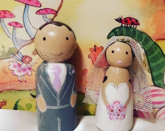 wedding cake toppers wooden dolls wedding cake topper wooden peg dolls traditional 26642