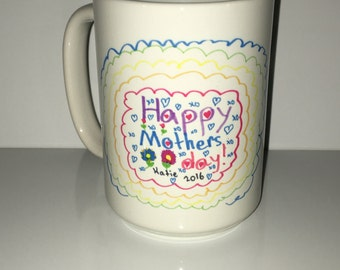Custom Printed Mothers Day Mug with your child's art