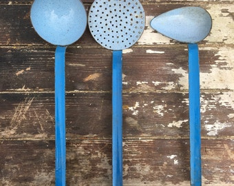Vintage set of three enamel spoons in good condition