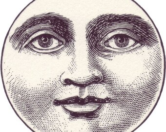 Full moon face - temporary tattoo