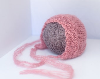 Knitted Dusty Pink Bonnet