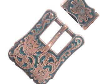"Buckle and Keeper Set Antique Copper for 3/4"" Belts 3425-90"