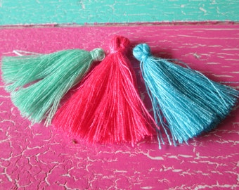 Items similar to silver light blue mint royal blue party tassels set of 10 on etsy - Light blue and mint green ...