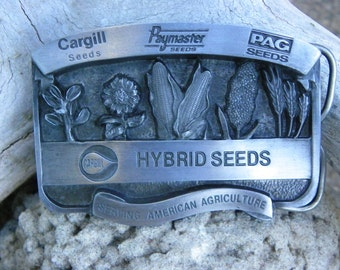 Vintage • Cargill Hybrid Seeds Country Western Belt Buckle | Serving American Agriculture Count On | Made in USA