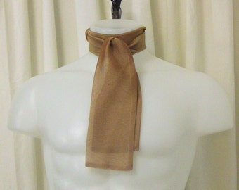 Ascot/Jabot Necktie in Iridescent Cinnamon-Gold Semi-Sheer Chiffon Fabric
