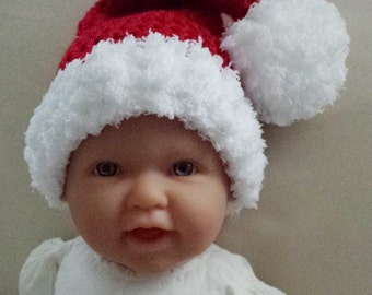 Santa Hat,6-12 Month Santa Hat,Crochet Baby Photo Prop,Christmas Baby Santa Hat,Crochet Baby Gift,Santa PomPom Hat,Baby Gift,Ready To Ship