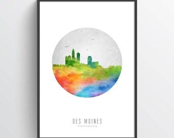 Des Moines Skyline Poster, Des Moines Cityscape, Des Moines Art, Des Moines Decor, Home Decor, Gift Idea, USIADM20P
