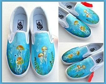 Hand Painted VANS, women's custom shoes, beach theme vans, ocean shoes, jelly fish painted vans, beachy vans, hand painted shoes custom vans