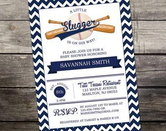 YOU PRINT Baseball Baby Shower Invitation 5x7 Digital File - Little Slugger - Sports Themed Baby Shower Invitation 245