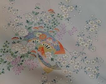 Vintage Japanese Silk Kimono Fabric Fans and Cherry Blossom