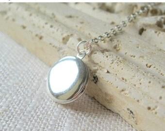 Silver Locket, small silver locket, locket necklace, silver locket necklace, round silver locket, tiny silver locket, silver locket