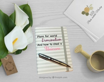 Unicorn Notebook - Gift idea - Gift for her - Birthday gift - Christmas gift - Gift for friend - Journal - Custom notepad - travel notebook