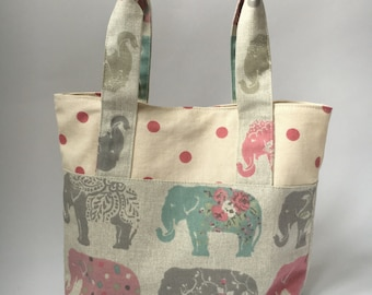 Small Tote Bag, Adult or Child, Lunch Bag, Elephant / Pink Spotty Fabric
