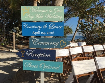 Nautical Wedding Welcome Sign/Ceremony Beach Wedding Decor/ Shoes Optional Directional Sign