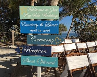 Welcome Wedding Sign, Beach Wedding Decor, Shoes Optional Reception Sign