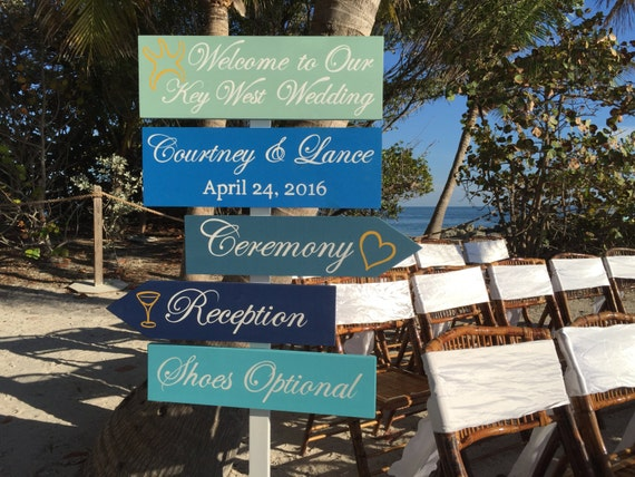 Directional Beach Wedding Welcome Sign, Nautical Wedding Decor, Shoes Optional, Ceremony, Reception Sign