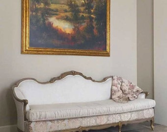 Antique Sofa & Loveseat-Carved wood, upholstered in linens and chenilles, nailhead trim and custom cushion covers and distressed painting