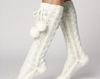 Wool socks. Knitted socks. Long socks. Boot socks. Wool slipper socks. Home socks. Bed socks.Handmade socks.Birthday present.Christmas gift.