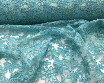 Aqua Paisley Flowers Embroider On A Mesh Lace.Wedding/Bridal/Nightgowns/Prom.