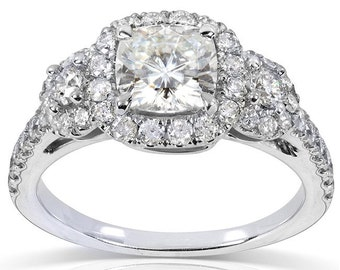 Forever One Cushion Moissanite and Diamond Engagement Ring 1 7/8 CTW in 14k White Gold