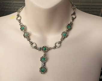 Green gem & Tibetan silver necklace