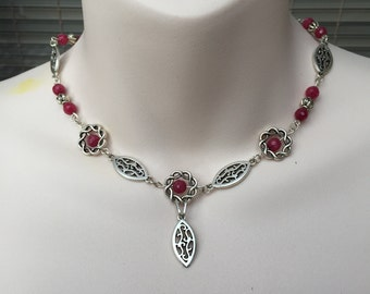 Ruby bead necklace