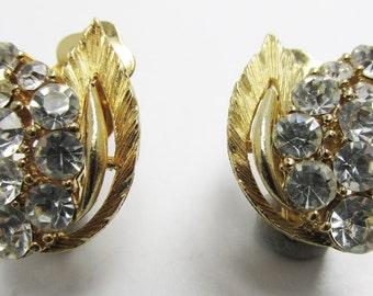 Vintage 1950s Signed Lisner Gold Toned Rhinestone Earrings