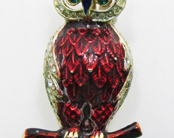 Vintage 1950s Gold Toned Figural Enamel and Rhinestone Owl Pin with Patent Number