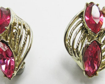 Vintage - Collectible - Pink Rhinestone Earrings - Jewelry - Gold - Rhinestones - Pink - Elegant - Unique - Sparkling - Gift - Women's