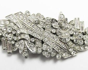 Elegant Vintage 1930s Art Deco Rhinestone Duette With Patent Number 2114675