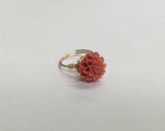 Coral Dahlia Ring