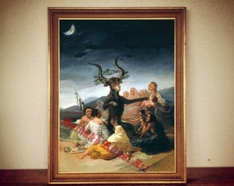 """Occult art: """"Witches' Sabbath"""" by Goya print, Devil poster, satanic goat, occultism, gothic art, wiccan decor, magic home, witchcraft #230"""