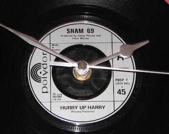 """Sham 69 Hurry up Harry  7"""" vinyl record clock"""