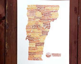 Breweries of Vermont Hand Lettered Print, Brewery Print, Vermont Print